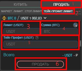 Как открыть тейк-профит ордер на продажу в терминале ATANI