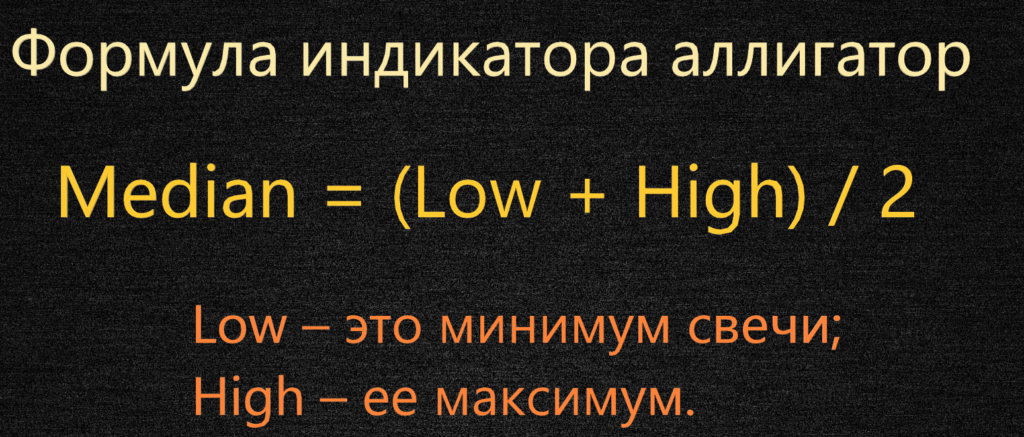 Формула индикатора аллигатор