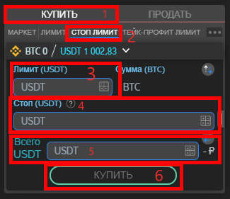 Как открыть стоп лимитный ордер на покупку в терминале ATANI